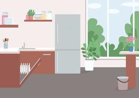 cucina con frigo e lavastoviglie aperta vettore