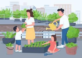 mamma e papà insegnano ai bambini il giardinaggio vettore