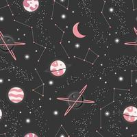 universo con pianeti e stelle senza cuciture vettore