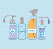distributori di sapone e flacone spray per alcol con croce vettore