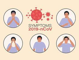 avatar uomo con design dei sintomi del virus ncov 2019 vettore