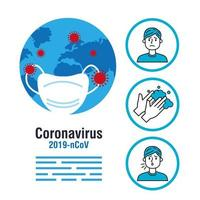 diagramma di flusso per la prevenzione del coronavirus vettore