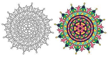 Round Mandala Colorazione Decorativa Design Coloring Book vettore