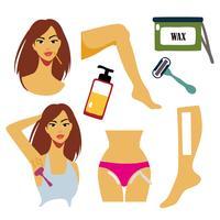 Le donne libere rimuovono le zone dei capelli con l'illustrazione di vettore di ceretta