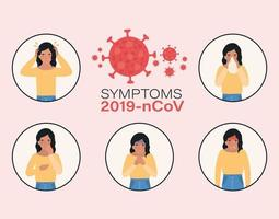 avatar donna con design dei sintomi del virus ncov 2019