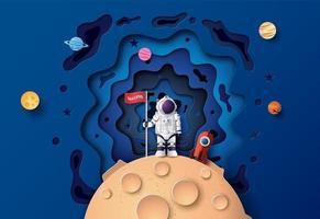 astronauta con bandiera sulla luna vettore