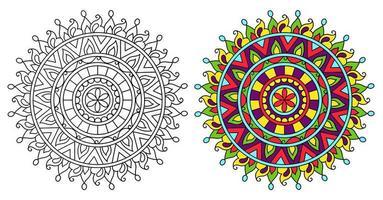 arrotondati ornamentali decorativi da colorare mandala libro da colorare vettore