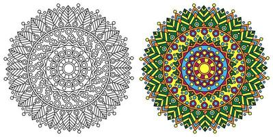 Round ornamentali decorativi da colorare mandala pagina del libro da colorare vettore