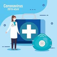 banner di prevenzione del coronavirus con medico vettore