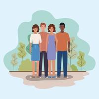 avatar di donne e uomini e design di alberi