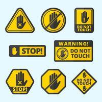 Non toccare collezione di segni vettoriali