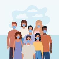 uomini e donne con maschere e nuvole