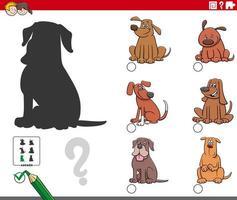 compito di ombre con personaggi di cani dei cartoni animati vettore