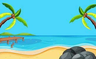 scena di spiaggia vuota con due alberi di cocco vettore