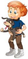 ragazzo che gioca con un cane isolato su sfondo bianco vettore