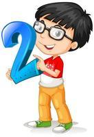 ragazzo nerd con gli occhiali tenendo la matematica numero due vettore