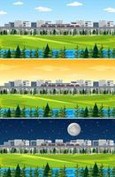 città con paesaggio naturale in diversi momenti della giornata vettore