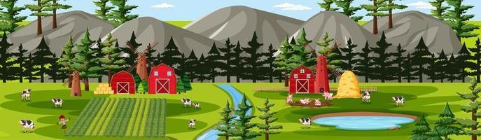 natura fattoria con scena di paesaggio di fienili