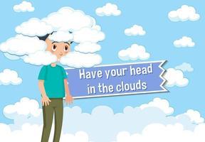 poster di idioma con la testa tra le nuvole vettore