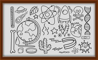 diversi tratti di doodle sulle attrezzature scientifiche nel telaio di legno