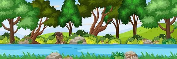 scena del fiume nella scena orizzontale della foresta vettore