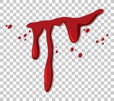 sangue gocciolante rosso su sfondo trasparente vettore