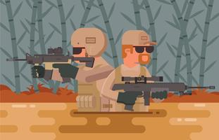 Illustrazione del soldato delle guarnizioni della marina vettore