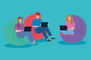 persone che lavorano insieme sui loro laptop vettore