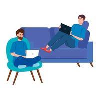 uomini che lavorano insieme sui loro laptop