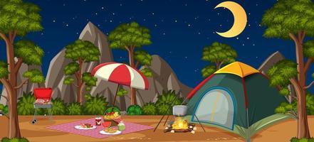 campeggio o picnic nel parco naturale di notte vettore