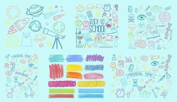 set di oggetti colorati e simboli disegnati a mano doodle