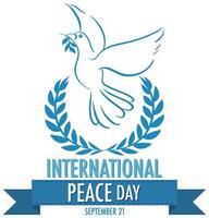 striscione giornata internazionale della pace con colomba e rami di ulivo vettore