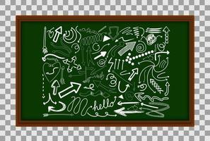 diversi tratti di doodle sul bordo verde