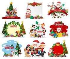 set di cartolina di Natale in bianco e logo isolato
