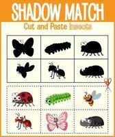 trova l'ombra corretta, il foglio di lavoro della corrispondenza ombra