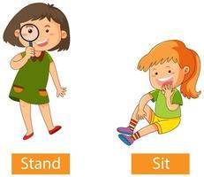 parole del verbo opposto con stand and sit vettore