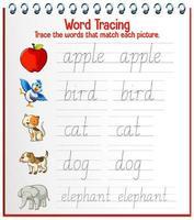 fogli di lavoro per tracciare l'alfabeto inglese