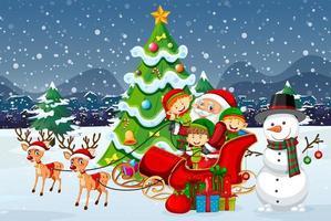 Babbo Natale sulla slitta con renne e tanti bambini vettore