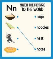abbina l'immagine al foglio di lavoro delle parole per i bambini