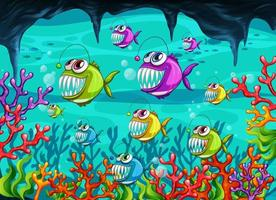 pescatore nella scena subacquea vettore