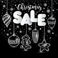 design di vendita di natale con ornamenti disegnati a mano