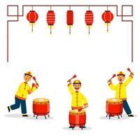 tamburellare tre ragazzi per la danza del leone cinese vettore