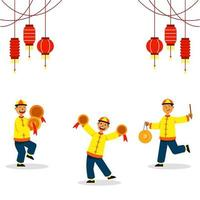 cymbaling tre ragazzi per la danza del leone cinese vettore