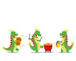 bambini cinesi che suonano musica per la danza del drago vettore