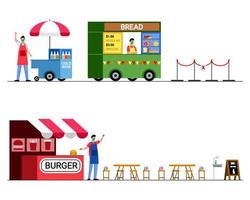 negozio di alimentari durante l'era dell'epidemia vettore