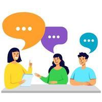i giovani parlano e discutono a tavola vettore