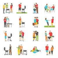 cibo all'aperto e icone piatte picnic vettore