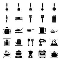 pack di icone di accessori da cucina vettore