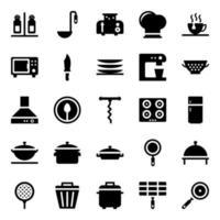 Pack di icone di attrezzature da cucina vettore