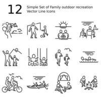 icone di linea sottile di vettore di ricreazione all'aperto della famiglia per grafica web e app. semplice pittogramma minimo